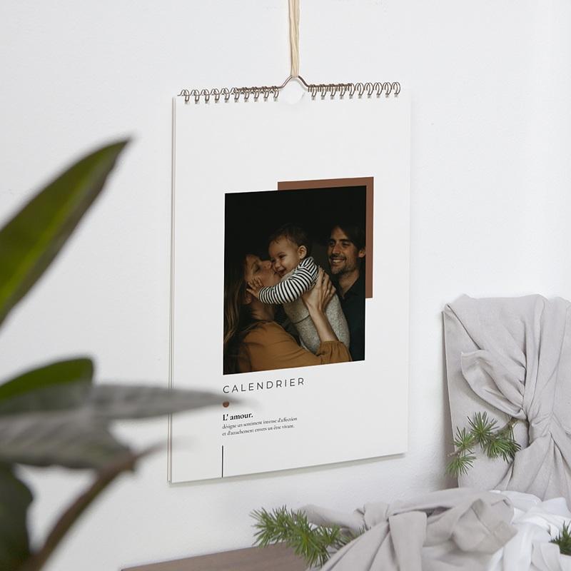 Calendrier Mural Naturel Un amour de Famille, Papier texturé, Case jour