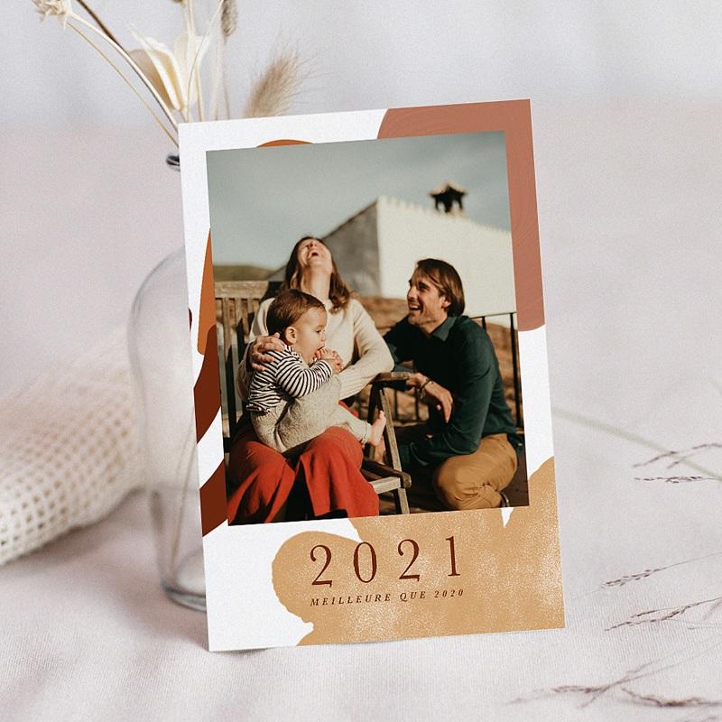 Carte de Voeux Bonheur retrouvé, tons chauds & photo