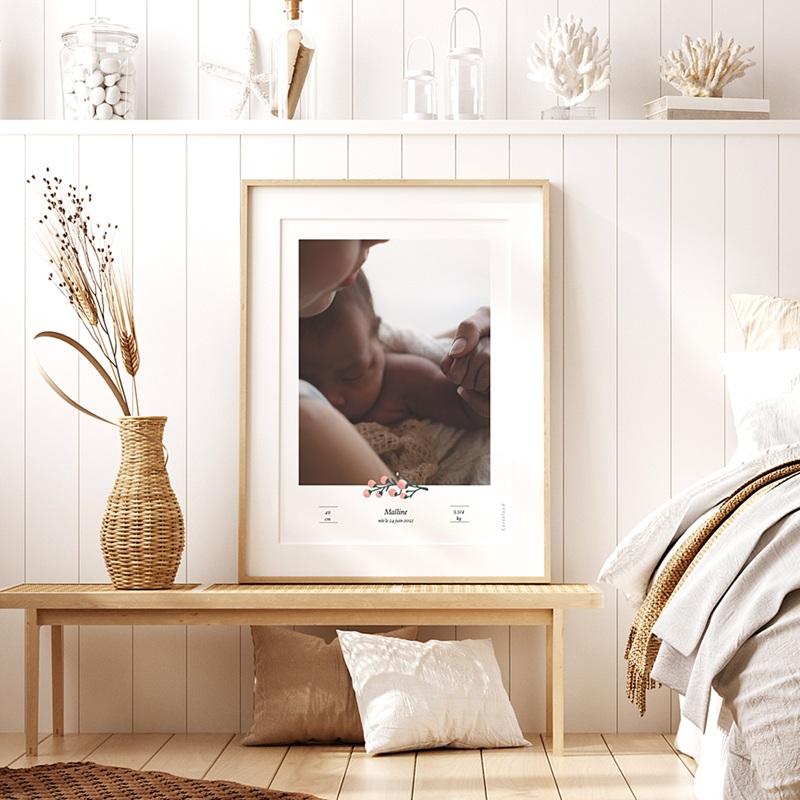 Affiches Baies Roses, Photo & prénom Bébé, 30 x 40 cm pas cher