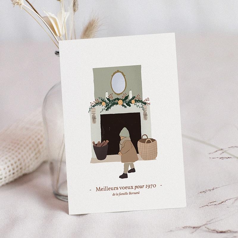 Carte de Voeux Cheminée de Noël, Enfant & Photo