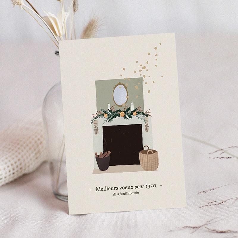 Carte de Voeux Cheminée de Noël, photo & dorure