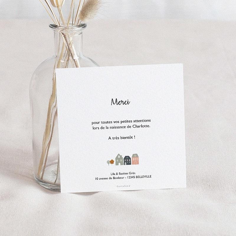 Carte Remerciement Naissance Garçon Petites Maisons, couleurs douces & Photo