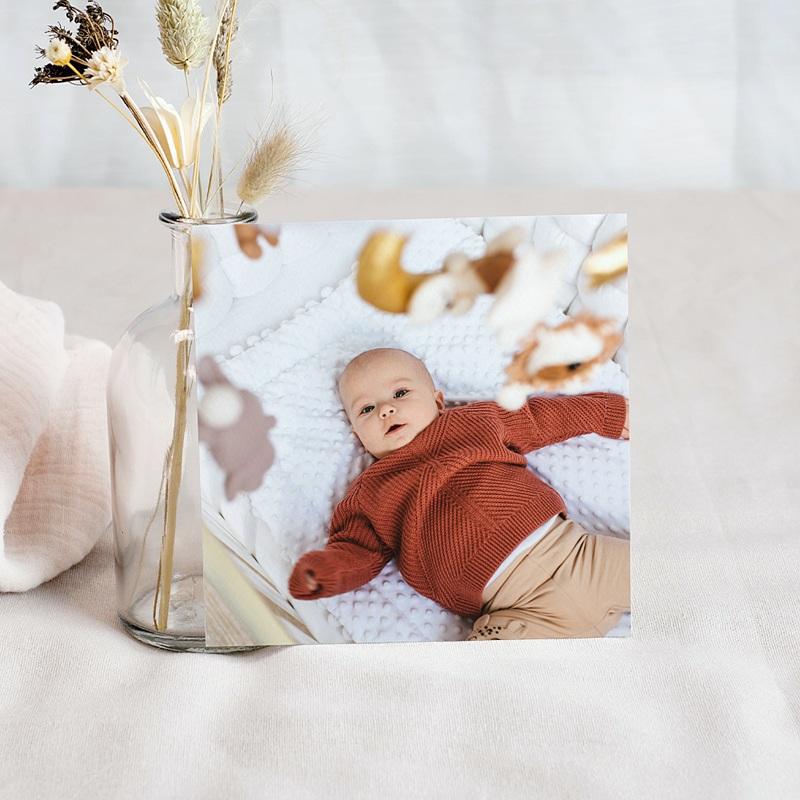 Carte Remerciement Naissance Garçon Petites Maisons, couleurs douces & Photo pas cher