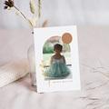 Carte Remerciement Baptême Fille Bénédiction spirituelle, Photo & rameau doré