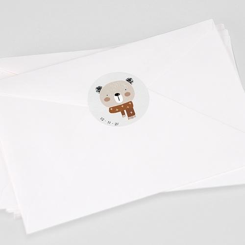 Etiquette Autocollante Naissance Petite Ourse d'hiver & Date de naissance