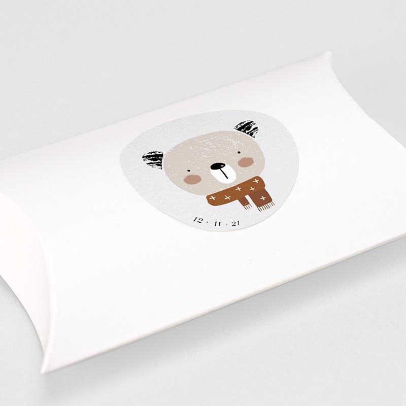 Etiquette Autocollante Naissance Petite Ourse d'hiver & Date de naissance gratuit