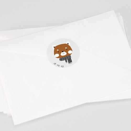 Etiquette Autocollante Naissance Petit Panda roux & Date naissance