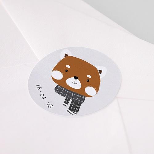 Etiquette Autocollante Naissance Petit Panda roux & Date naissance pas cher