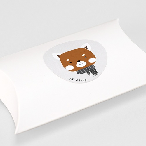 Etiquette Autocollante Naissance Petit Panda roux & Date naissance gratuit