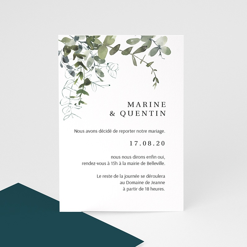 Change The Date Mariage Eucalyptus Floral, nouvelle date