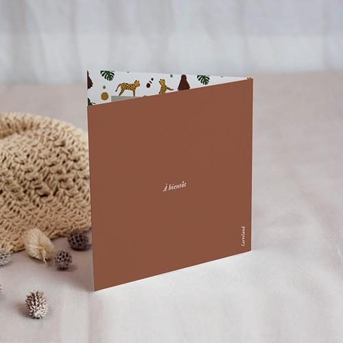 Carte Remerciement Naissance Fille Joli Safari, double volet, 9,5 x 9,5 cm gratuit