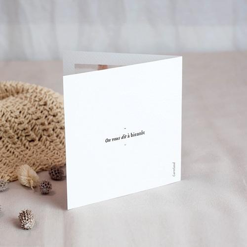 Carte Remerciement Naissance Fille Douce Miniature, Mésange rose & Photo, double volet gratuit