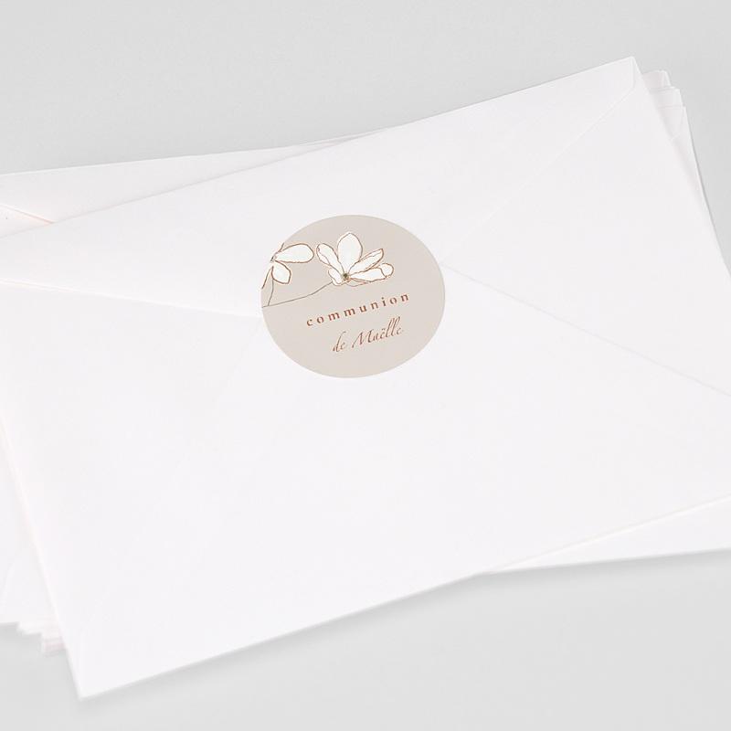 Etiquette Autocollante Communion Fleur d'esprit, japonisant, Sticker 4,5 cm