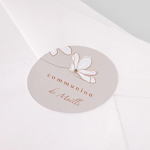 Etiquette Autocollante Communion Fleur d'esprit, japonisant, Sticker 4,5 cm pas cher