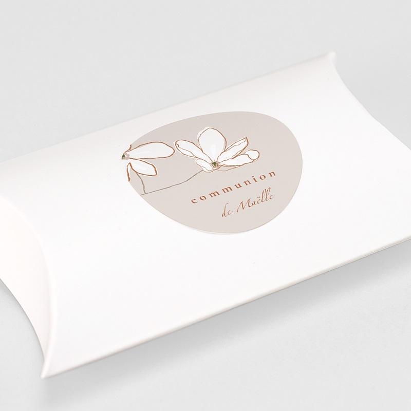 Etiquette Autocollante Communion Fleur d'esprit, japonisant, Sticker 4,5 cm gratuit