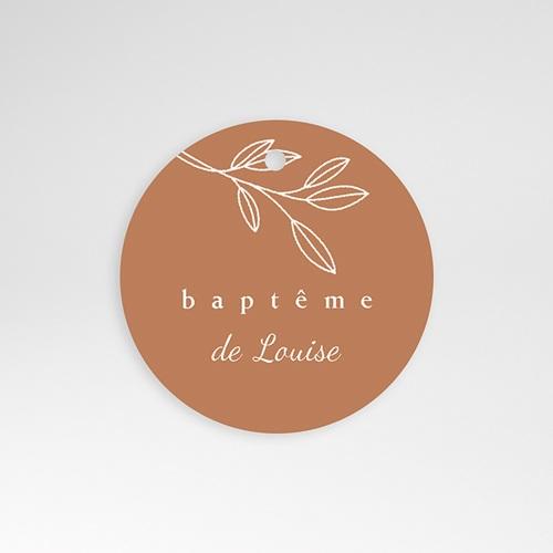 Étiquette Baptême Bénédiction spirituelle, rameau, perforée, Ø 4,5 cm