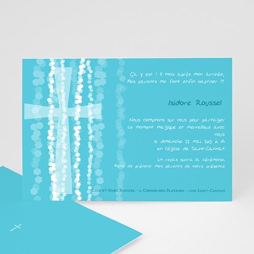 Faire-Part Baptême Garçon Croix Contemporaine Bleue