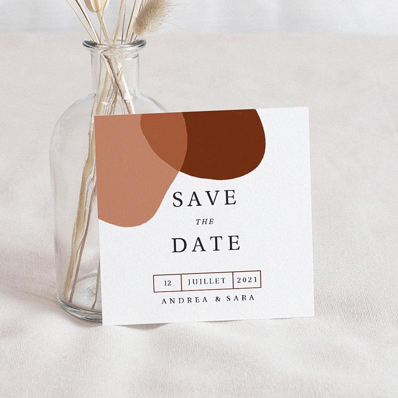 Save The Date Mariage Abstrait, couleurs automnales, 10 x 10 cm