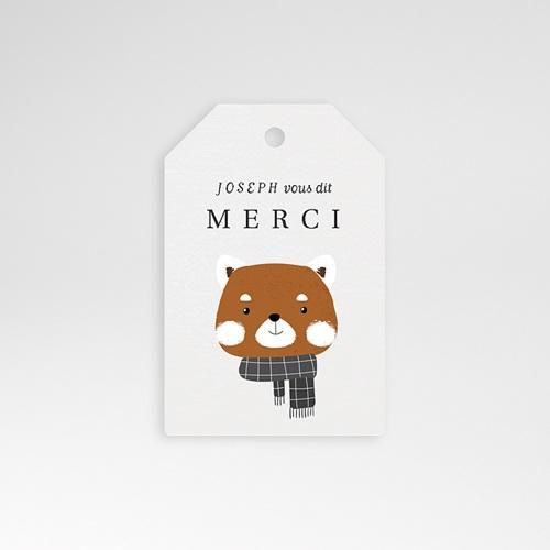 Etiquette Cadeau Naissance Petit Panda roux, Bords biseautés, 6 x 4
