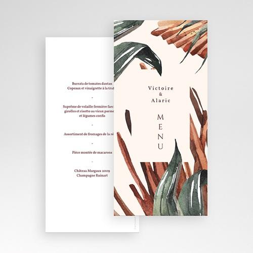 Menu Mariage Palma Terracotta, Tropical chic, 10 x 21 pas cher