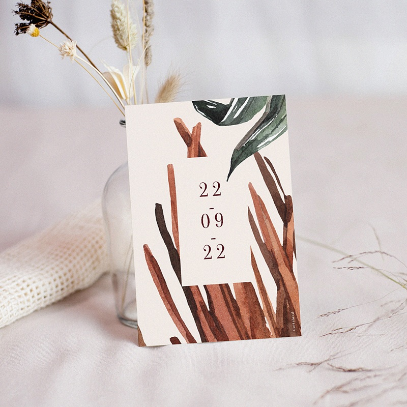 Save The Date Mariage Palma Terracotta, Tropical chic, 10 x 14 cm pas cher