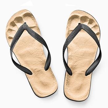 Tong personnalisée Les pieds dans le sable