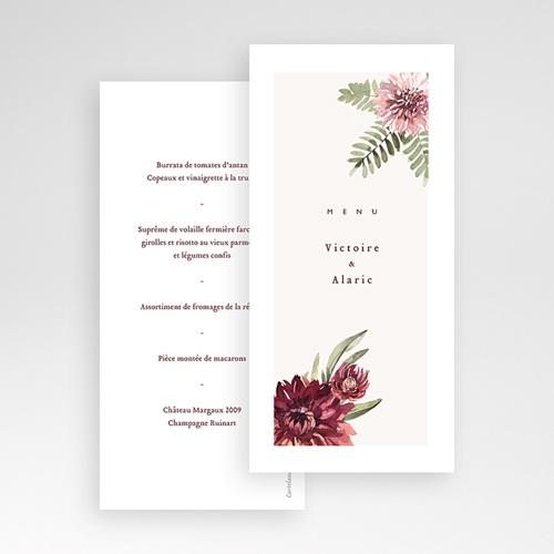 Menu Mariage Accord floral, Dahlia & Fougères pas cher