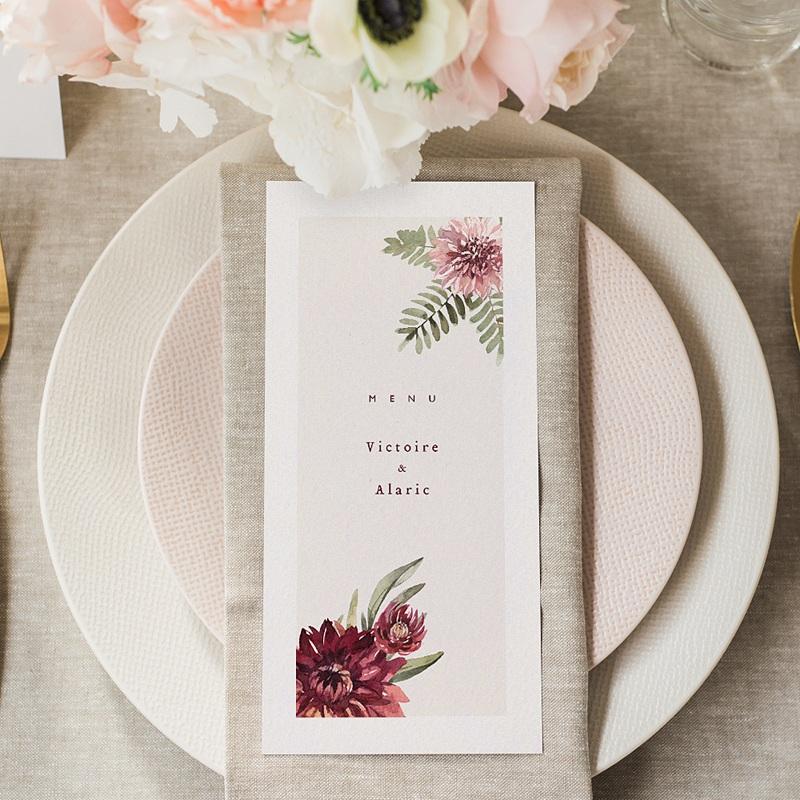 Menu Mariage Accord floral, Dahlia & Fougères gratuit