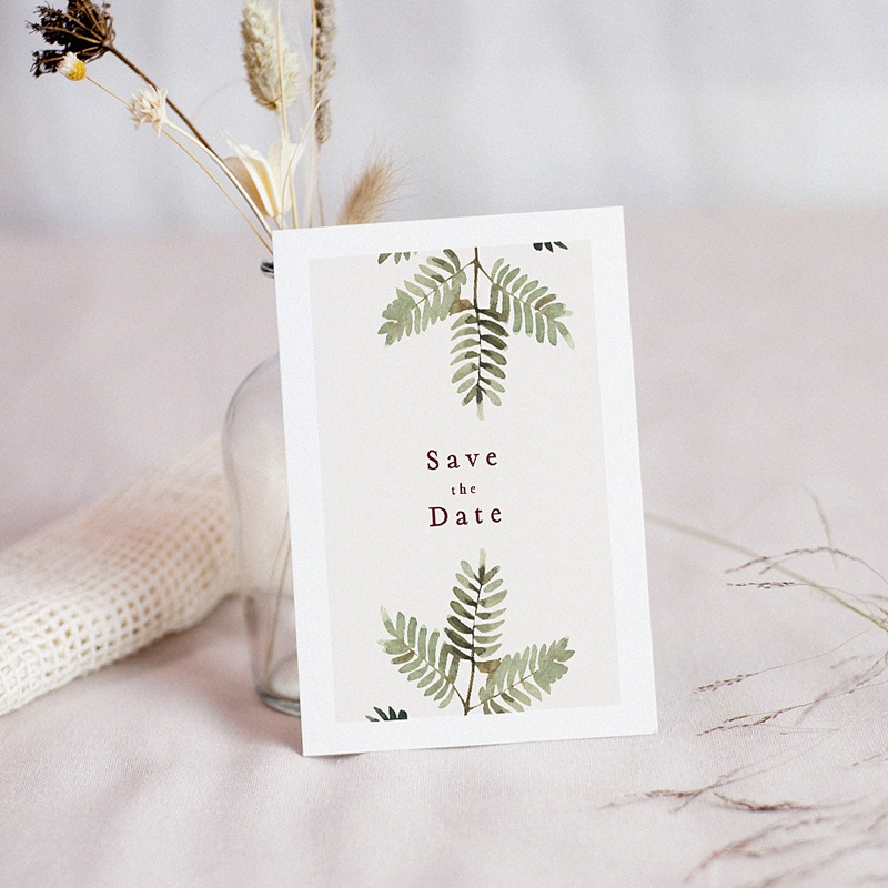 Save The Date Mariage Accord floral, Fougères & Photo, 10 x 14 cm