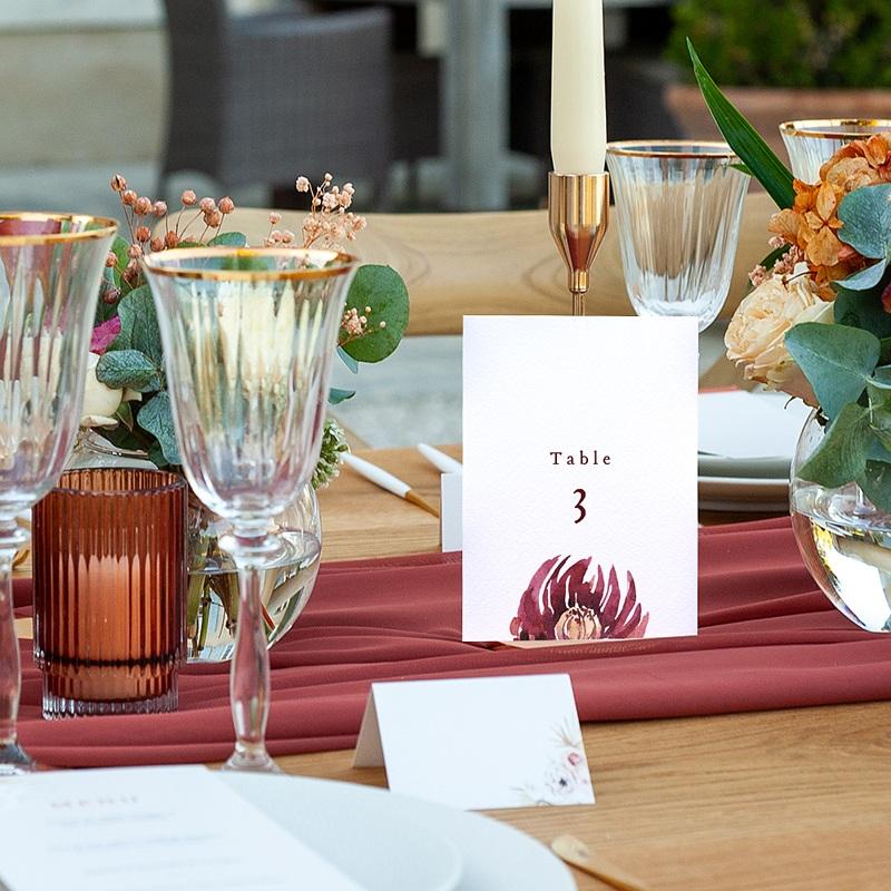 Marque Table Mariage Accord floral, Lot de 3 repères de table pas cher