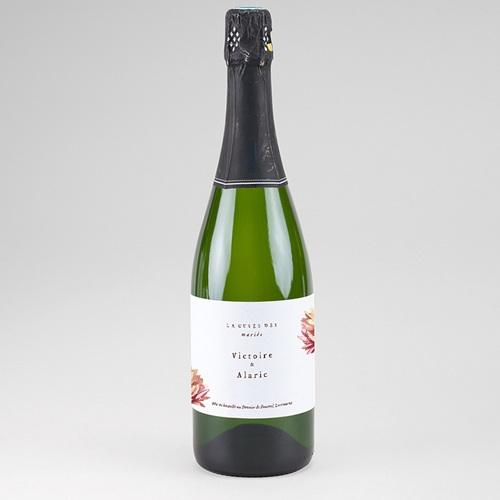 Etiquette Bouteille Mariage Aloe flambloyant, champagne ou vin