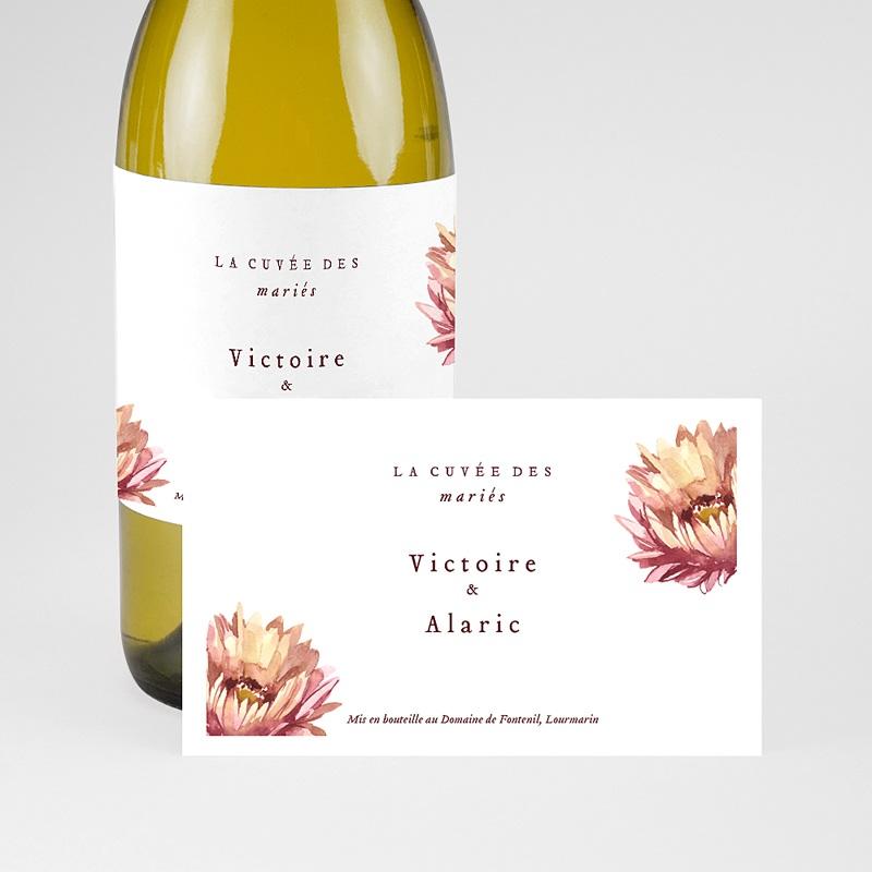 Etiquette Bouteille Mariage Aloe flambloyant, champagne ou vin pas cher