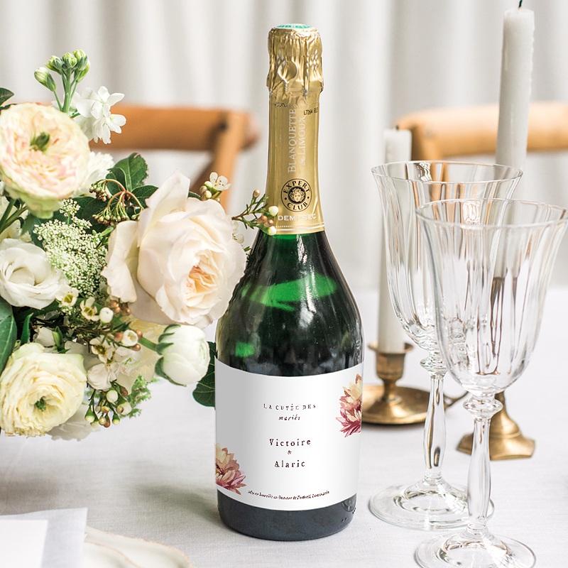 Etiquette Bouteille Mariage Aloe flambloyant, champagne ou vin gratuit