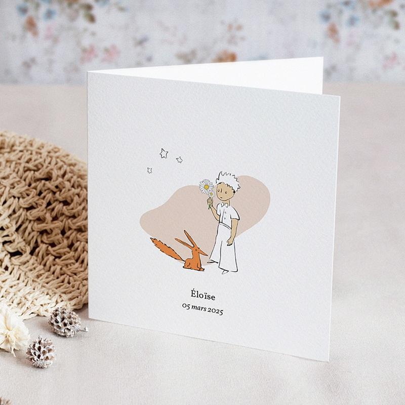Faire-Part Naissance Le Petit Prince Renard et Petit Prince amis pour la vie, 2 volets