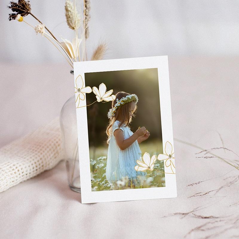Carte Remerciement Communion Classique Fleur d'esprit, Portrait & dorure