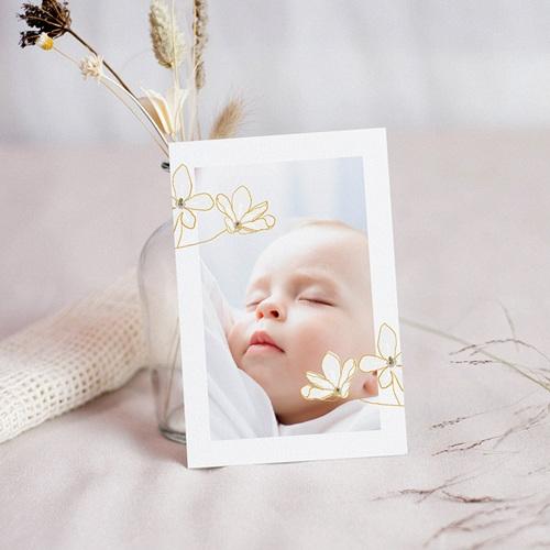 Carte Remerciement Baptême Fille Fleur de Joie, Portrait & dorure
