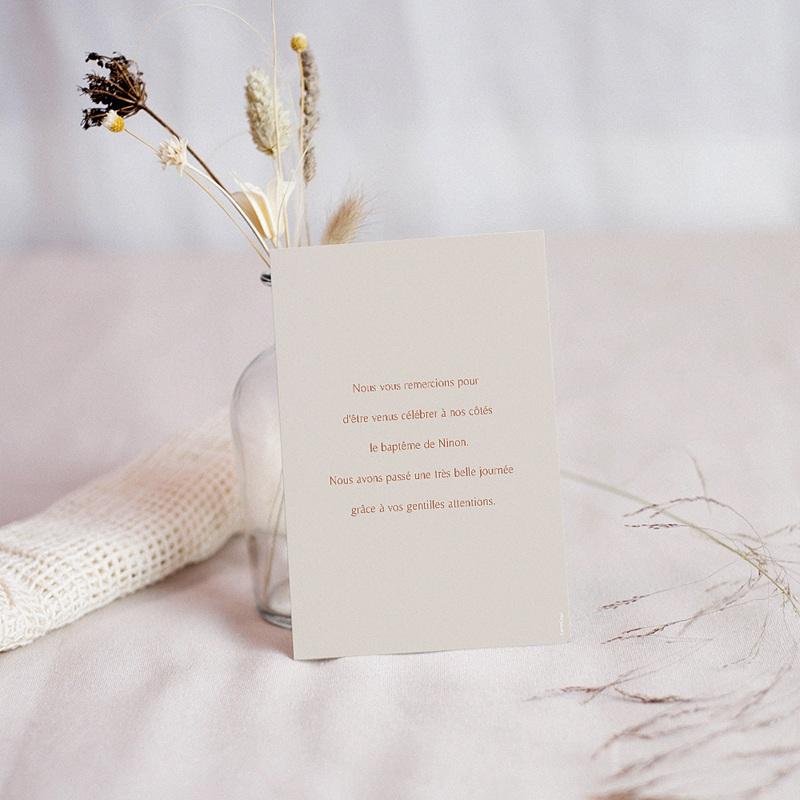 Carte Remerciement Baptême Fille Fleur de Joie, Portrait & dorure pas cher