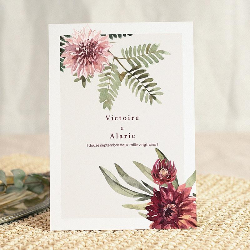 Faire-Part Mariage Nature Accord floral, Dahlia & Fougères, 15 x 21 cm gratuit