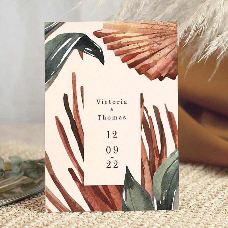 Faire-Part Mariage Chic Palma Terracotta, Tropical chic, 15 x 21 cm