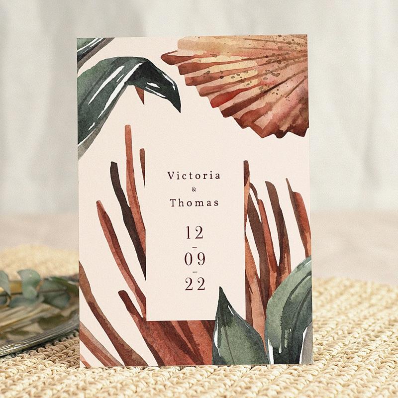 Faire-Part Mariage Chic Palma Terracotta, Tropical chic, 15 x 21 cm gratuit