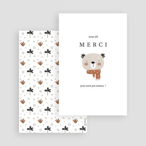 Carte Remerciement Naissance Fille Petite Ourse d'hiver, Motif Aloe Vera & Fleur gratuit