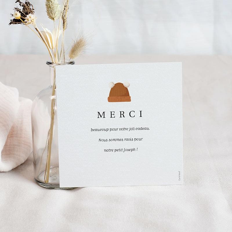 Carte Remerciement Naissance Garçon Petit Panda roux & papier écolier, 10 x 10 pas cher