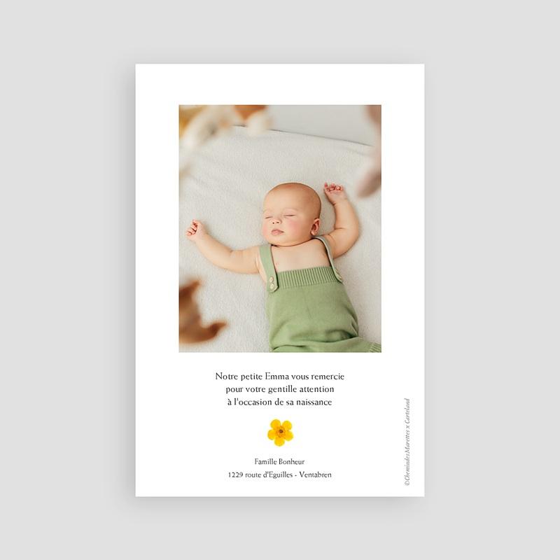 Carte Remerciement Naissance Fille Herbier du Soleil, Portrait pas cher