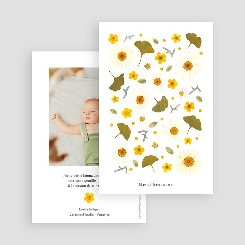 Carte Remerciement Naissance Fille Herbier du Soleil, Portrait gratuit