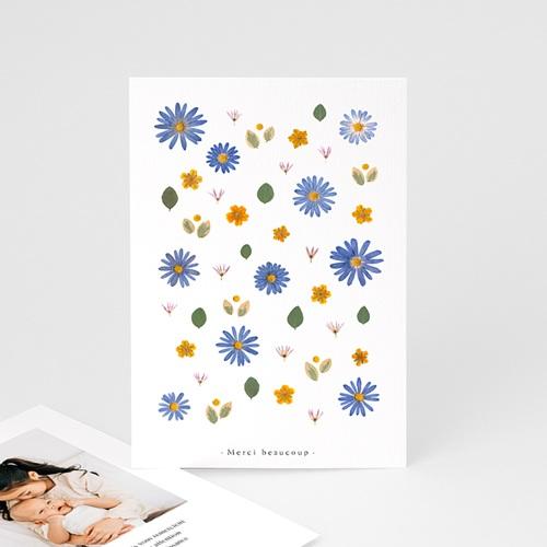 Carte Remerciement Naissance Frère et Soeur Herbier Sérénité, Anémones & Portrait