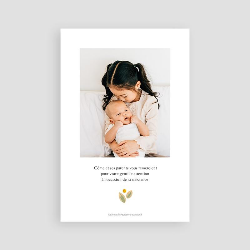 Carte Remerciement Naissance Frère et Soeur Herbier Sérénité, Anémones & Portrait pas cher