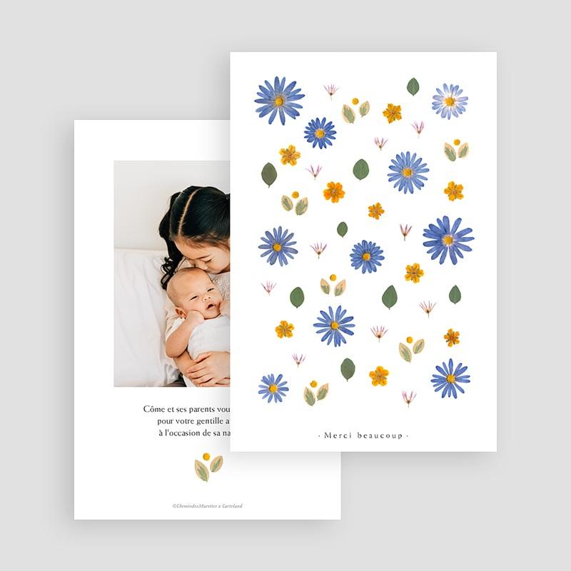Carte Remerciement Naissance Frère et Soeur Herbier Sérénité, Anémones & Portrait gratuit