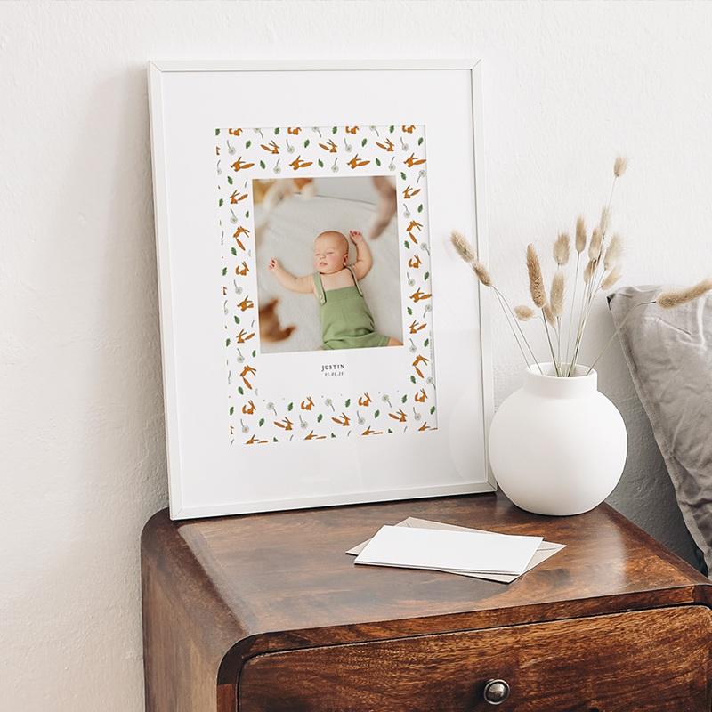 Affiche Chambre Enfant Le Petit Prince Portrait du Petit Prince, Motif Renard, 30 x 40 gratuit