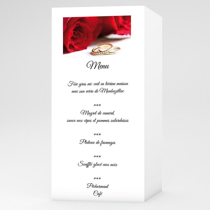 Menu Mariage Personnalisé Roses rouges et alliances