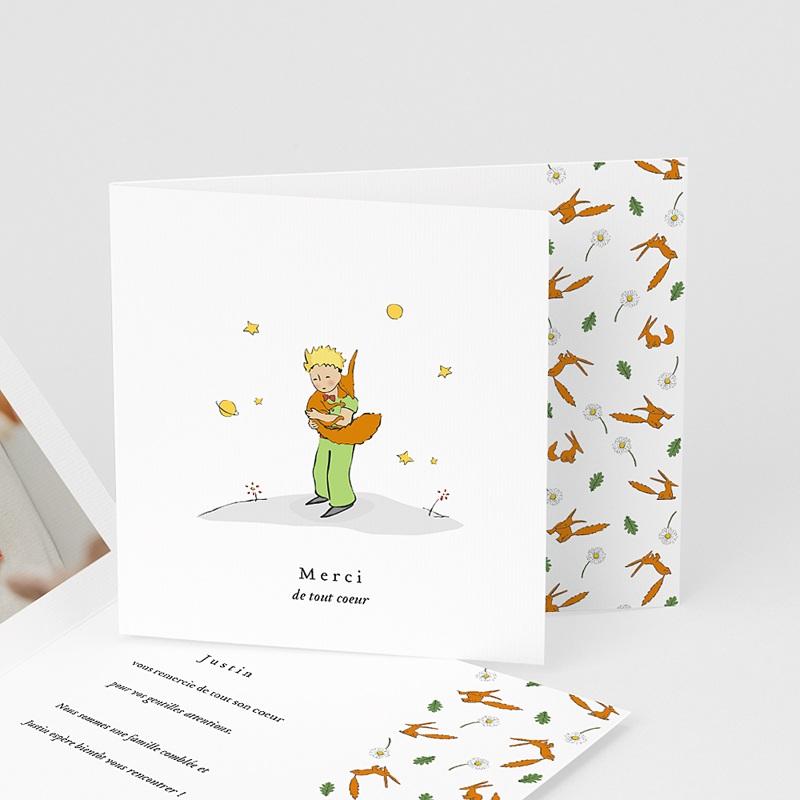 Carte Remerciement Naissance Le Petit Prince Le renard du Petit Prince, pli-décalé